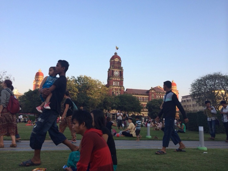 Crowding out in a small plaza, Yangonites are starved for public spaces